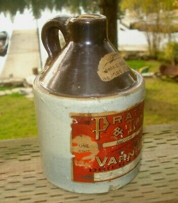 RARE 1900s PRATT & LAMBERT VARNISH RED  WING STONEWARE 1 PINT MINI JUG CROCK