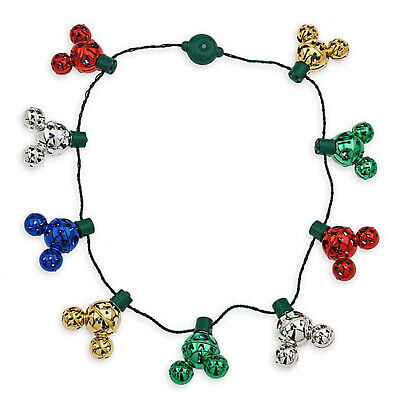 Disney Parks Christmas Holiday Mickey Mouse Icon Jingle Bells Light Up Necklace