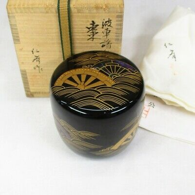 E313: High-class Japanese lacquered NATSUME tea container with MAKIE and NASHIJI