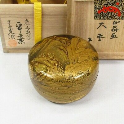 E361: Highest-class Japanese lacquered NATSUME tea container with finest MAKIE