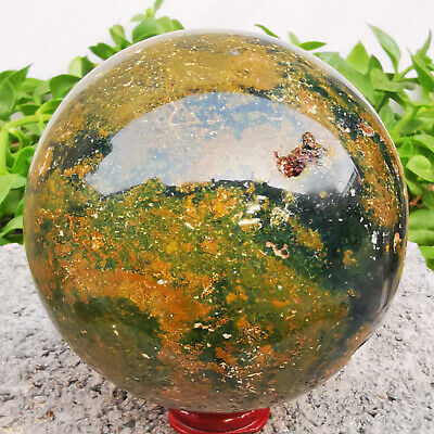 Natural Ocean Jasper Quartz Sphere Crystal miracle sea stone Ball Healing 1217g