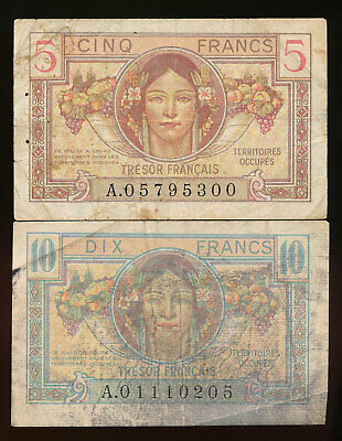 France Allied Occupied Territories 5 & 10 Francs 1947