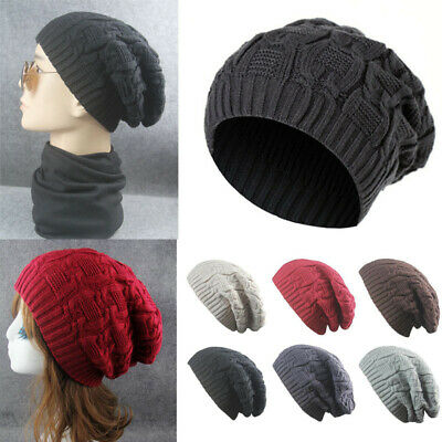 Unisex Ladies Mens Women Baggy Slouch Beanie Hat Warm Thermal Fleece Knitted Cap