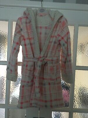 Girls Matalan Pink,white, Grey Dressing Gown With Hood And Attached Belt Aged 9