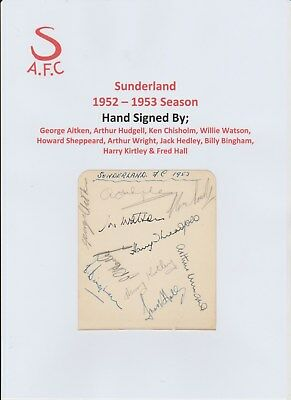 Sunderland & Bolton Wanderers 1952-1953 Rare Orig Autograph Book Page 15 X Sigs