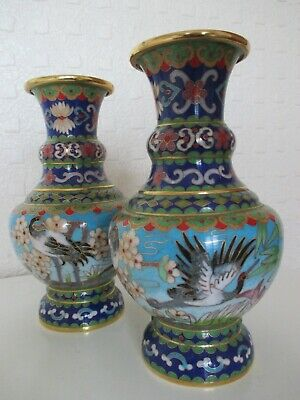 Pair of Beautiful Chinese Oriental Cloisonne Enamel Vases Decorated with Birds