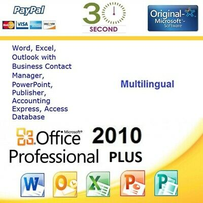 Office 2010 Professional Pro Plus 32/64 bit - Multilanguage - 100% Original