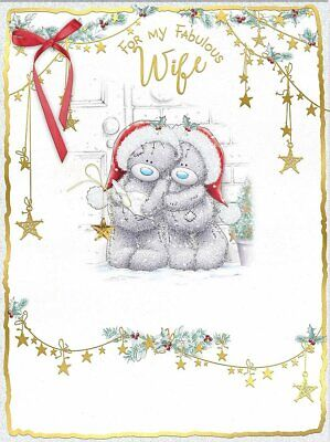Boxed 2 Page Extra Large Greeting Card Teddy Christmas Fabulous Wife
