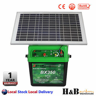40km Electric Fence Energizer Energiser 2.5J 20W Solar Panel 12v Power Poly Wire