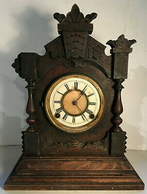 Antique ANSONIA CLOCK NEW YORK 8Day Chime Oak Pine Brass Mantel Shelf Clock 1882