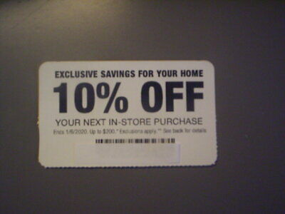 Home Depot 10% Off In-Store Coupon. Exp. 1/6/20. Save Up To $200. 5 Day Auction!