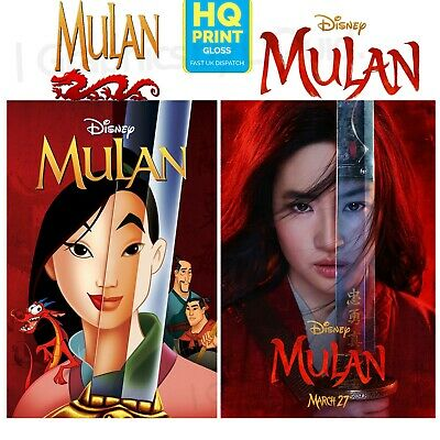 Mulan Disney Movie Poster 1998-2020 Animated to Live-Action Poster A4 A3 A2 A1