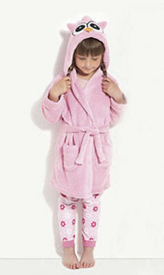 Bnwt Girls Hooded Owl Robe Dressing Gown Pink Age 12/18 Months Bnip New