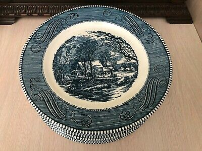 Set of 9 Currier and Ives Old Grist Mill Blue Dinner Plates by Royal China 10""