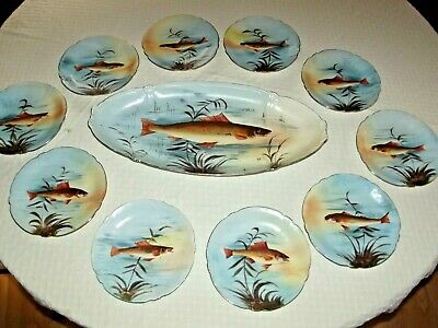 """Hand painted gold edged LS&S Limoges 22"""" fish platter & 10 dinner fish plates"""