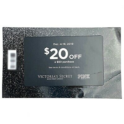 Victoria Secret Pink $20 off $50 Coupon Code Dec 4-18 Ship Avail Upon Request