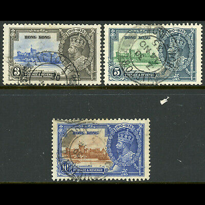 HONG KONG 1935 Silver Jubilee. 3 Values. SG 133-135. Fine Used. (WD229)