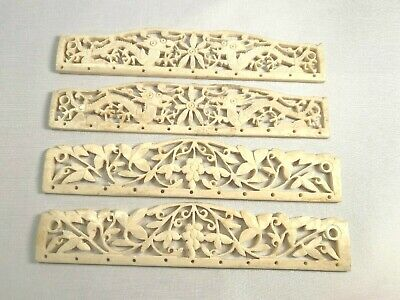 Two Pair Vintage Carved Bone Purse Handles Dragons Flowers Art Nouveau Vintage
