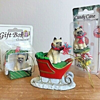 Cairn Terrier Ornament Lot of 3 Candy Cane Sleigh Gift Box Red Dog Christmas New