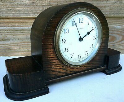 Antique Art Deco FRENCH 8 Day Porcelain & Oak Mantle Shelf Clock & Key 1938 30s