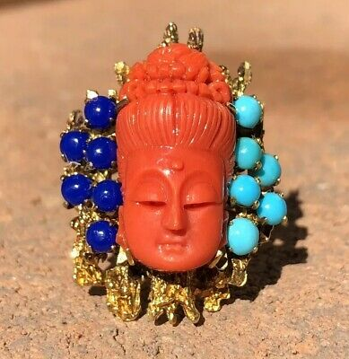 Antique Chinese Carved Mediterranean Coral Buddha Head Turquoise & Lapis Ring