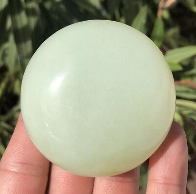 Antique 18th/19th C Old Chinese White HETIAN Jade NEPHRITE Circular Lidded Box