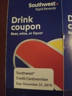 16 Unused Southwest Airlines Drink Coupons - Expire Dec 31, 2019