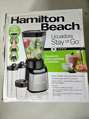 Hamilton Beach Stay or Go 32 Oz Smoothie Mixer Blender with To Go Cups, Black