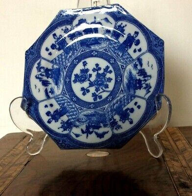 Antique Chinese Small Plates Octagonal Early transfer print Blue & White Signed
