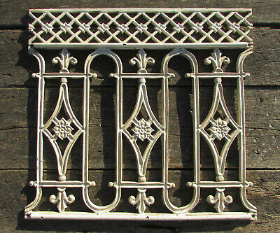 Vintage Cast Iron Bank Teller Cage Window Antique Railing Victorian Garden Gate