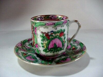 Chinese Export Rose Medallion Demitasse Cup & Saucer
