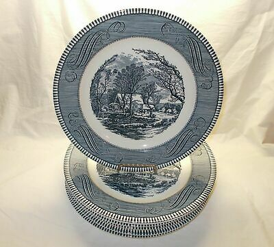 "6 VINTAGE Royal China Currier and Ives THE OLD GRIST MILL Blue 10"" Dinner Plates"