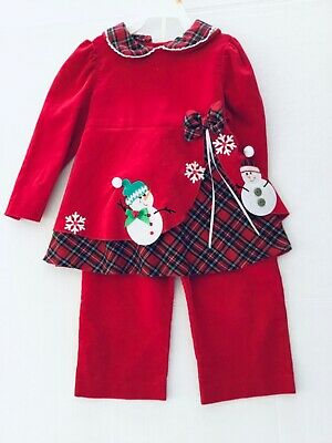 Girl 4T RARE EDITIONS Red Green Plaid CHRISTMAS Dress Top Pant 2 pc Lot OUTFIT