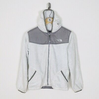 The North Face Girls Large White/Grey Oso Hooded Fleece Jacket Full Zip