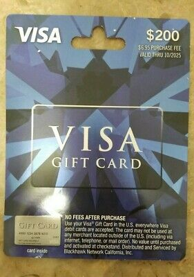 $200 Card ACTIVATED,No Fees After Purchase -NON Relaodable
