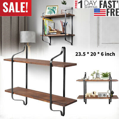 23.5inch Industrial Wall Shelves Wall Mounted 2 Tier Wood Storage Shelf Black