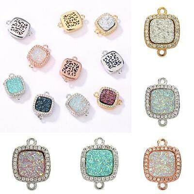 Rhinestone Connectors Square Bracelet Charm for DIY Jewelry Making Multicolor