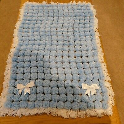 NEW Handmade baby blanket  Pom Pom Blanket 31 inches by 21 inches blue and white