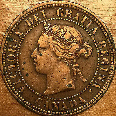 1882H CANADA LARGE CENT PENNY COIN - Obverse #1 variety