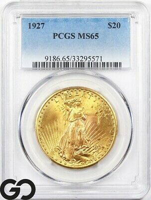 1927 MS65 Double Eagle, $20 Gold St Gaudens PCGS MS 65 ** Nice Mint Luster!