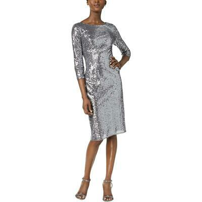 Adrianna Papell Womens Silver Sequined Cocktail Dress Petites 10P BHFO 1360