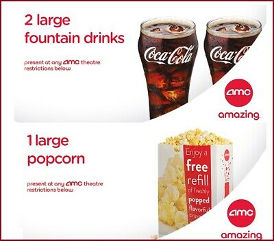 AMC Theaters 2 Large Drinks Coke & Large Popcorn || Fast E-Delivery Exp 6/30/20