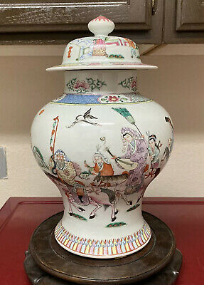 Very Fine Antique Chinese Famille Rose Ginger Jar Story Of Wang Zhaojun