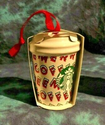 2019 Starbucks Ceramic HOLIDAY PRINT Cup Christmas Ornament Stocking - VHTF