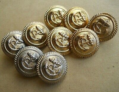 Naval Style Blazer Shank Buttons - Gold Effect Plastic – Set Of 9 Used