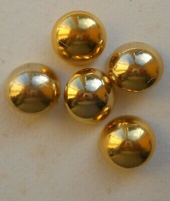 BRIGHT GOLD 24 mm DOMED PLASTIC SHANK BUTTONS – LOT OF 5 USED