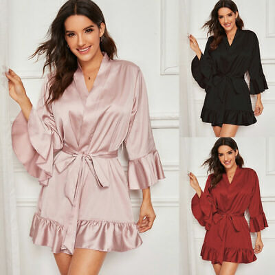 Satin Dressing Sleepwear Wedding Kimono Silk Bathrobe Robe Bridesmaid Women Gown