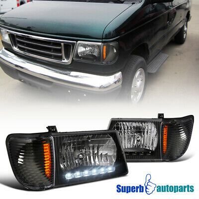 For 1992-2006 Econoline Van LED DRL Headlight Black W/ Corner Lamps E250 E350