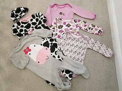 Girls' Vests and Cow Babygrows: 12-18 months, John Lewis & Next