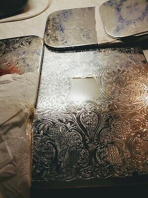 Rare  LARGE UNUSED Silver Plate Table Mat - read on - 8 available